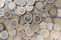 L'euro conia la priorità bassa soldi europei Vista superiore di Flatlay fotografia stock libera da diritti