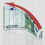 L'euro de graphique se développent Images stock