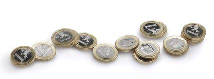 L'euro de pièces de monnaie toujours vie Grande vue de plan rapproché Images libres de droits