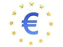 L'euro ⬠del segno con le stelle dell'Ue Fotografia Stock