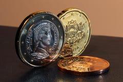 L'euro della Lettonia conia 2014 Immagini Stock Libere da Diritti