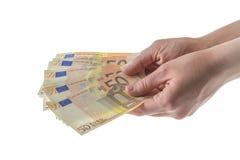 L'euro della mano ha isolato cinquanta Fotografie Stock