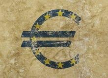 L'euro et l'icône de drapeau d'UE signent plus de le fond grunge Photos libres de droits