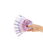 L'euro fattura 500 euro banconote Soldi della tenuta della mano Unio europeo Fotografie Stock