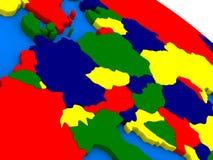 L'Europa centrale sul globo variopinto 3D Fotografie Stock Libere da Diritti