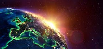 L'Europe au lever de soleil d'or photos stock