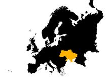 l'Europe avec la carte de l'Ukraine Images libres de droits