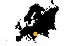 l'Europe avec la carte de la Roumanie Photos stock