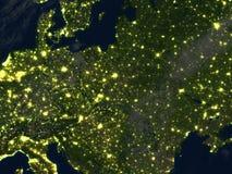 L'Europe de l'Est la nuit sur terre de planète Photo stock