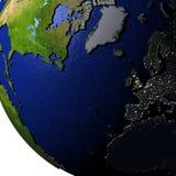 L'Europe et l'Amérique du Nord sur le modèle de la terre avec la terre de relief Photographie stock libre de droits