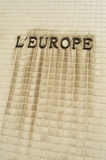 L'Europe. The french word Europe in characters on a tiled wall Royalty Free Stock Photography