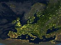L'Europe la nuit sur terre de planète Photos stock
