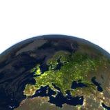 L'Europe la nuit sur terre de planète Images libres de droits