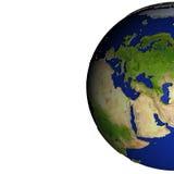 L'Europe sur le modèle de la terre avec la terre de relief Images libres de droits