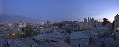 L.A. Evening Skyline Panorama Royalty Free Stock Photos