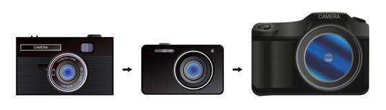 L'evoluzione della macchina fotografica Fotografie Stock