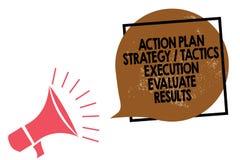 L'exécution de la tactique de stratégie de plan d'action d'écriture des textes d'écriture évaluent des résultats Lo de mégaphone  illustration de vecteur