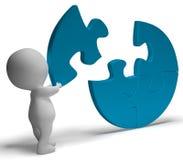 L'exécution du puzzle montre la solution accomplissant ou accomplissement illustration stock