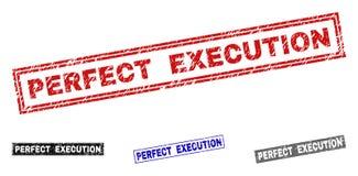 L'EXÉCUTION PARFAITE grunge a rayé des timbres de rectangle illustration stock