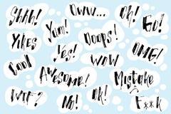 L'exclamation et les mots manuscrits à l'intérieur de la légende tirée par la main opacifie lettrage Illustration de vecteur avec Image libre de droits