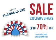 L'exclusivité de jour de thanksgiving des Etats-Unis offre le calibre d'affiche illustration de vecteur