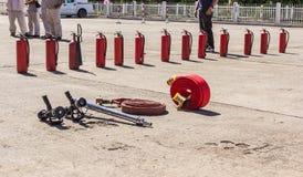 L'exercice contre l'incendie image stock