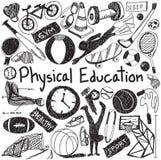 L'exercice d'éducation physique et l'éducation de gymnase marquent l'écriture à la craie Photos stock