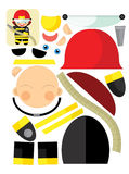L'exercice de bande dessinée avec des ciseaux pour childlren - le pompier Image stock