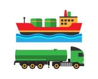 L'expédition de camion d'extraction de l'huile et le transport de bateau dirigent l'illustration illustration de vecteur