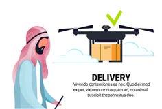 L'expédition mobile d'application d'homme d'opérateur de bourdon de vol de geo d'étiquette de la livraison de paquet arabe d'air  illustration libre de droits