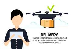 L'expédition mobile d'application d'homme d'opérateur de bourdon de vol de geo d'étiquette de la livraison de paquet asiatique d' illustration stock