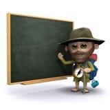 l'explorateur 3d enseigne au tableau noir illustration libre de droits