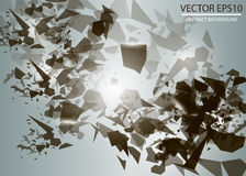 L'explosion 3d abstraite des particules noires chaotiques avec la lueur s'allume Photo libre de droits
