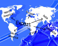 L'exportation dans le monde entier indique l'exportation marchande et l'a exporté Image stock