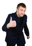 l'exposition d'homme d'affaires chantent le pouce vers le haut Photographie stock libre de droits