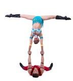 L'exposition de nouvelle année de jeunes acrobates gais Photos libres de droits