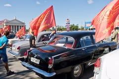 L'exposition de rétros voitures a produit en URSS sur l'avant-cour i Image stock