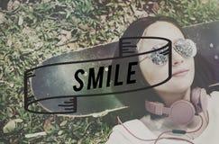 L'expression de sourire indiquent le concept de photo de fromage Image libre de droits