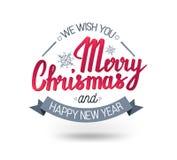 L'expression manuscrite nous te souhaitons un Joyeux Noël et une bonne année Images libres de droits
