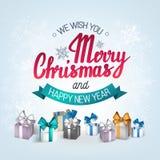 L'expression manuscrite nous te souhaitons un Joyeux Noël et une bonne année Photo libre de droits