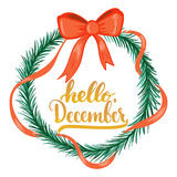L'expression tirée par la main de lettrage de typographie bonjour, décembre a isolé sur le fond blanc avec la guirlande de Noël B Images libres de droits