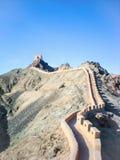 L'extrémité de la Grande Muraille dans la province de Gansu, Chine Images libres de droits