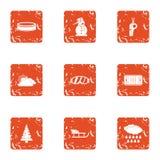 L'extrémité des icônes de Noël a placé, style grunge Photos libres de droits