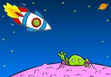 L'Extraterrestrial saluent un autre étranger dans un vaisseau spatial Photo libre de droits