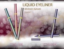 L'eye-liner liquide fascinant sur le scintillement effectue le fond Photo stock
