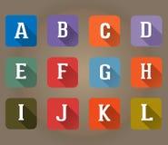 A-L Flat Icons Alphabet bokstavsuppsättning Arkivbild
