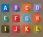 A-L Flat Icons Alphabet Letter Set Stock Photography