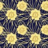 L'or floral décoratif sans couture de modèle fleurit le résumé Image stock