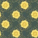 L'or floral décoratif sans couture de modèle fleurit le résumé Images libres de droits