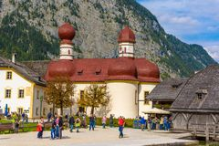 L'?glise de St Bartholomew dans Koenigssee, Konigsee, Berchtesgaden N photographie stock